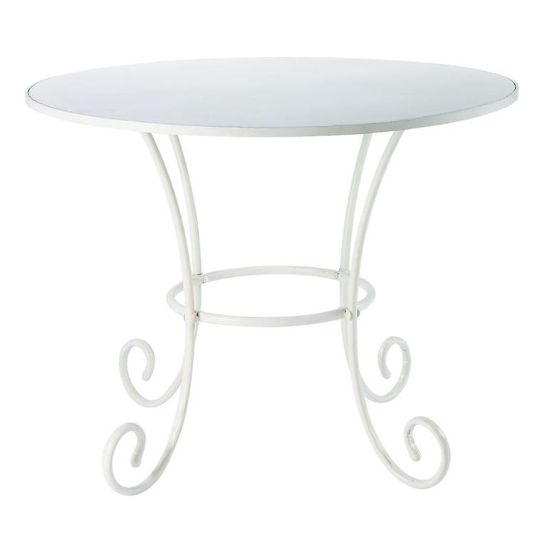 Table de jardin ronde en métal et fer forgé ivoire D100 St Germain