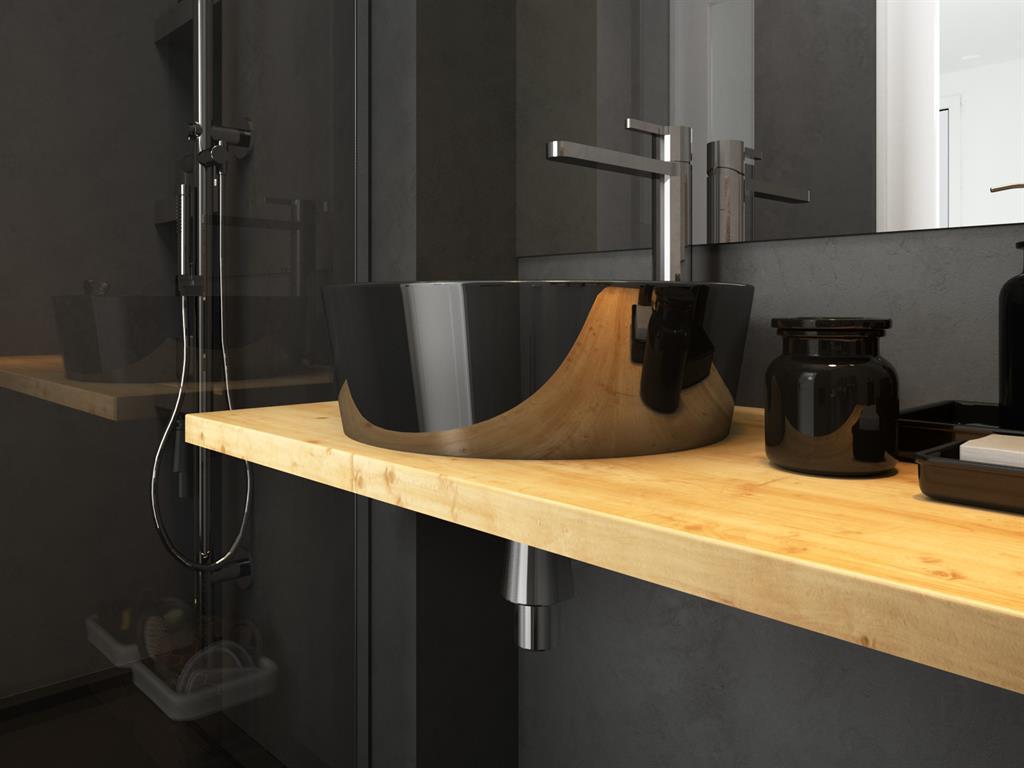 Petite salle de bain noire karine perez photo n 84 - Salle de bain bois et noir ...
