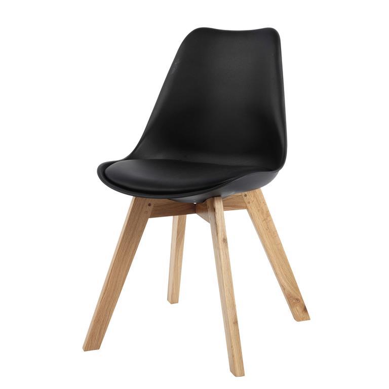 chaise scandinave noire et ch ne massif ice maisons du monde. Black Bedroom Furniture Sets. Home Design Ideas
