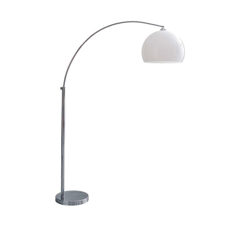 Lampadaire en métal chromé et plastique blanc H 209 cm SPHÈRE