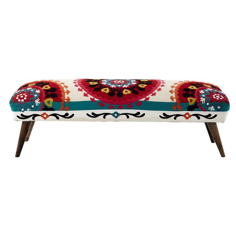 Bout de lit brodé en coton multicolore L 119 cm Bohemian