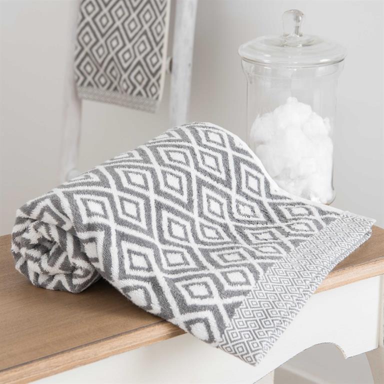 Drap de bain en coton blanc motifs gris 100x150 GRAPHIC WILD