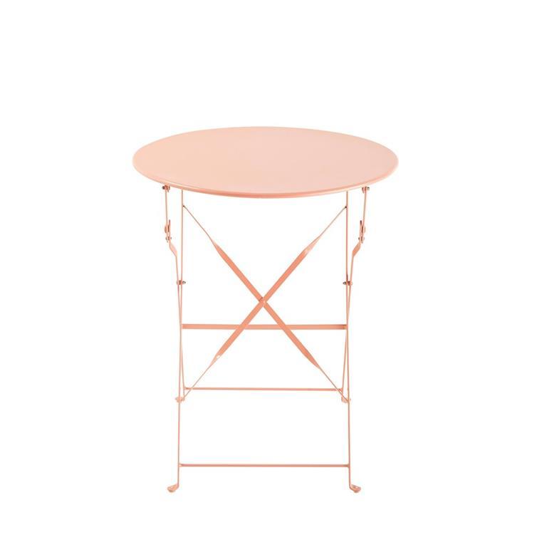 Table de jardin pliante en métal rose D58 Guinguette