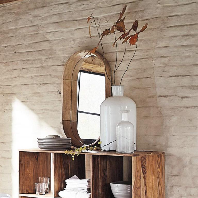 Miroir ovale en manguier H 44 cm ANTIGONE
