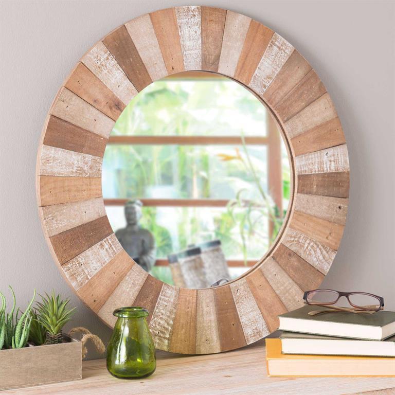Miroir rond en bois D 60 cm KARI