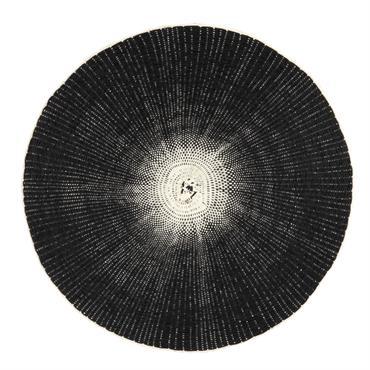 Set de table rond en papier gris charbon et ivoire dégradés