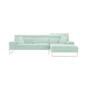 Canapé d'angle droit 5 places en velours menthe pastel