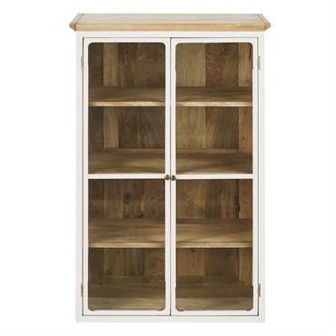 Vous aimez le charme de la tradition et l'élégance de la modernité ? Ne cherchez plus avec le meuble haut de cuisine 2 portes vitrées et manguier massif blanc L60 ...