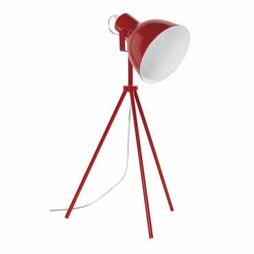 Lampe trépied en métal rouge