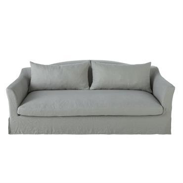 Canapé-lit 4 places en lin lavé gris clair Anaelle