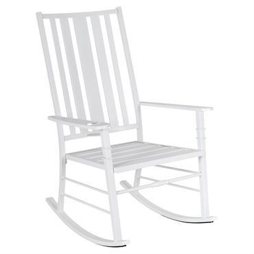 Rocking chair style néo-rétro à lattes métal époxy aspect bois