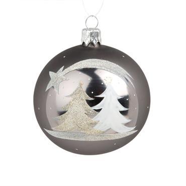 Boule de Noël en verre imprimé sapins et étoile filante