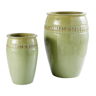 2 pots de jardin en céramique verte H70