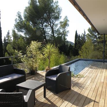 Réalisation de terrasse en bois exotique, construction de murs de soutènement en gabions, fourniture et plantation de végétaux exotiques, ...  Domozoom
