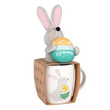 Coffret tasse en porcelaine blanche imprimée avec peluche lapin