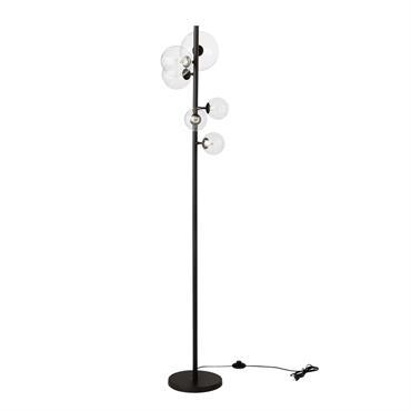 Lampadaire 6 spots en métal noir et en verre H160