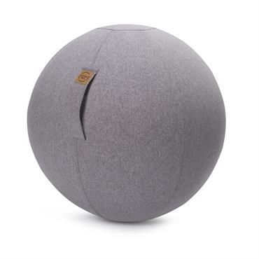 Balle d'assise aspect feutrine gris avec poignée polyester D65