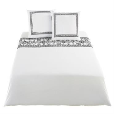 Parure de lit en percale de coton écrue motifs brodé noirs 240x260