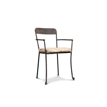 Chaise de repas à accoudoirs en métal gris