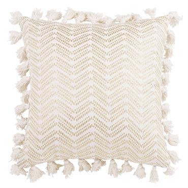 Housse de coussin à pompons en coton blanc 40x40