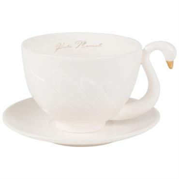 Tasse cygne et soucoupe en porcelaine blanche