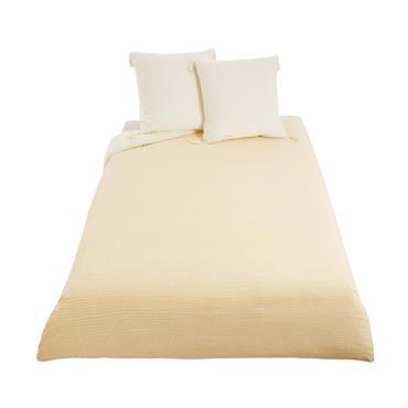 Parure de lit en coton écru motifs graphiques 240x260