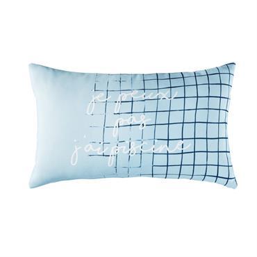 Coussin d'extérieur bleu à motifs 30x50