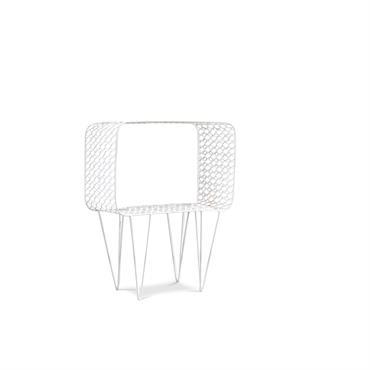 Table d'appoint en métal blanc