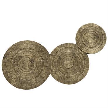 Déco murale disques gravés coloris bronze 62x32