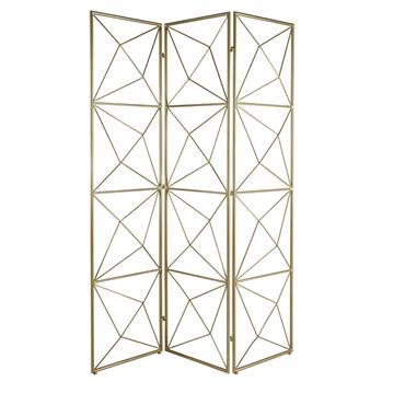 Paravent 3 vantaux en métal doré MELIS