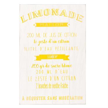 Tableau en pin blanc imprimé 40x60cm RECETTE LIMONADE