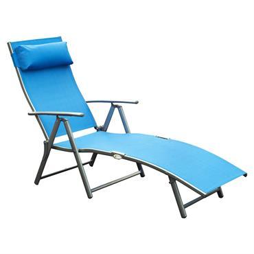 Transat inclinable multi-positions pliable bleu