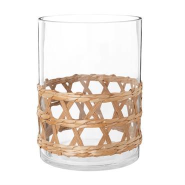 Vase en verre et rotin H25