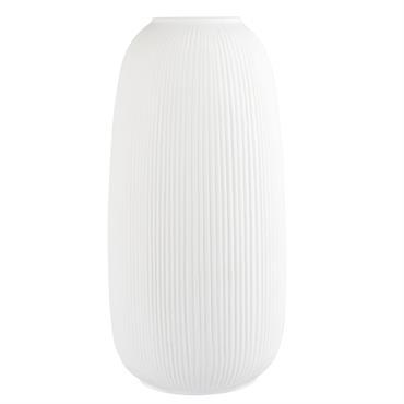 Vase en porcelaine striée blanche H25