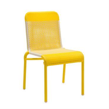 Chaise de jardin tressée en résine jaune citron