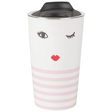 Mug en porcelaine blanche et rose imprimé visage