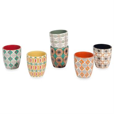 Coffret 6 tasses en faïence multicolore BAMAKO