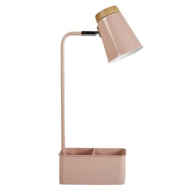 Lampe de bureau avec porte-crayons en métal rose et hévéa