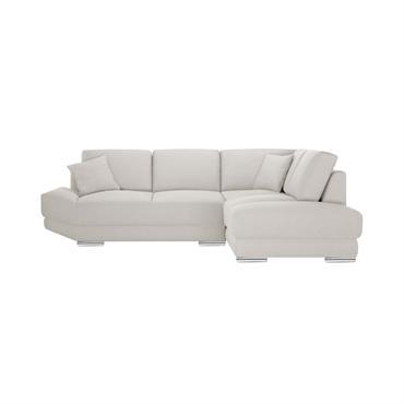 Canapé d'angle droit 5 places toucher lin crème