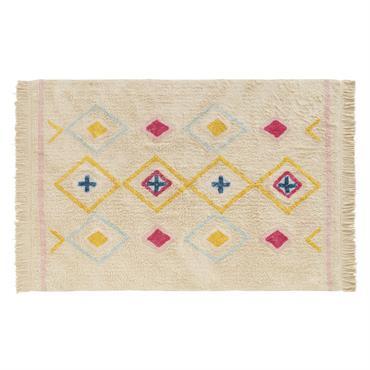 Tapis berbère en coton blanc à motifs multicolores 120x180