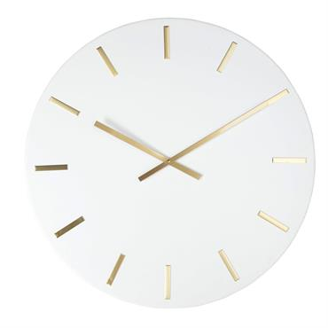 Horloge en métal blanc chiffres dorés D80