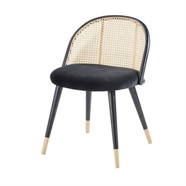 Chaise vintage noire cannage en rotin et bouleau massif Mauricette