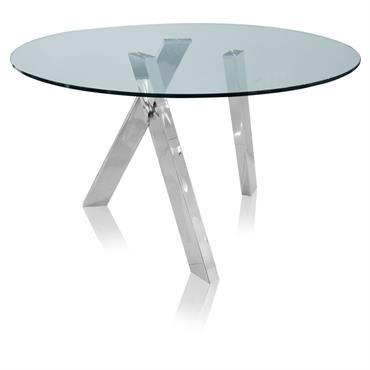 Table à manger ronde 4 personnes en verre et métal D130 Strada