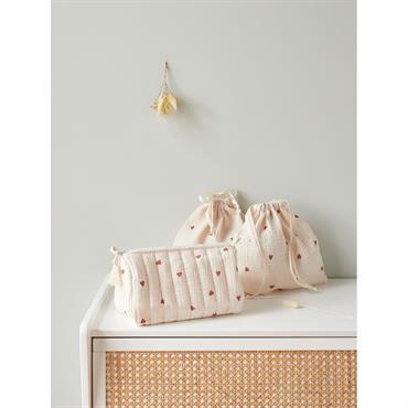 Trousse de toilette et pochons brodés ivoire/cœur terracotta
