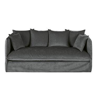 Canapé 3/4 places en velours gris foncé Louvre