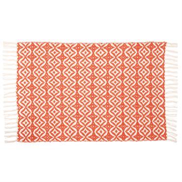 Tapis à frange en coton corail motifs graphiques 60x90
