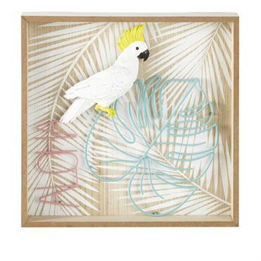 Cadre perroquet en relief 35x35