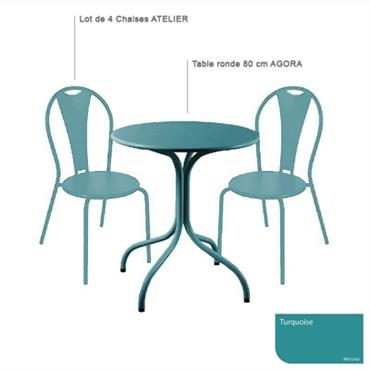 Ensemble table ronde Agora et 4 chaises Atelier