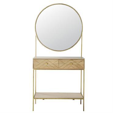 Meuble d'entrée miroir en manguier massif Stella