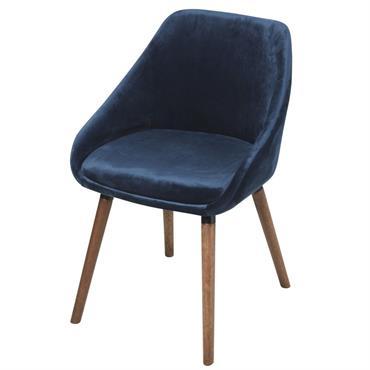 Chaise en velours bleu et pieds en hévéa Orwell